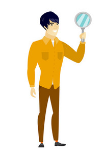 Asian business man holding hand mirror. Full length of business man looking at himself in a hand mirror. Business man with hand mirror. Vector flat design illustration isolated on white background.
