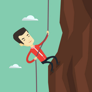 Asian business man in suit climbing on the rock. Young brave business man using rope to climb on the mountain. Concept of business challenge. Vector flat design illustration. Square layout.