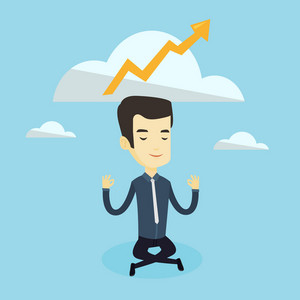 Asian business man in suit doing yoga in lotus position and thinking about the growth graph. Peaceful business man meditating in yoga lotus position. Vector flat design illustration. Square layout.