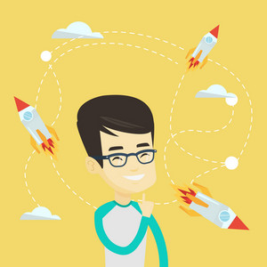 Asian business man looking at flying start up rockets. Young happy businessman came up with an idea for a business start up. Business start up concept. Vector flat design illustration. Square layout.