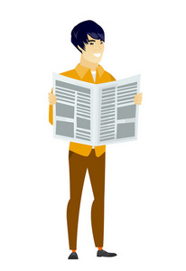 Asian business man reading newspaper. Happy business man standing with newspaper in hands. Business man reading good news in newspaper. Vector flat design illustration isolated on white background.