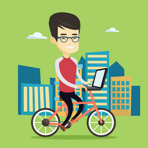 Asian business man riding a bicycle to work in the city. Business man with laptop on a bike. Business man working on a laptop while riding a bicycle. Vector flat design illustration. Square layout.