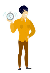 Asian business man showing ringing alarm clock. Full length of business man with alarm clock. Happy business man holding alarm clock. Vector flat design illustration isolated on white background.