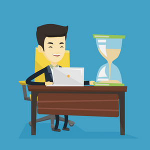 Asian business man sitting at the table with hourglass symbolizing deadline. Smiling business man coping with deadline successfully. Deadline concept. Vector flat design illustration. Square layout.