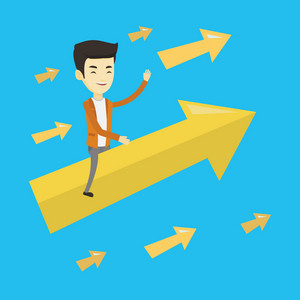 Asian business man sitting on arrow going to success. Successful business man flying up on a big arrow. Concept of moving forward to business success. Vector flat design illustration. Square layout.