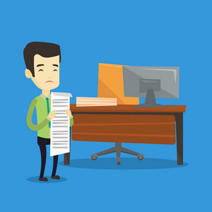 Asian business man standing in office with long bill in hands. Disappointed business man holding long bill. Upset business man looking at long bill. Vector flat design illustration. Square layout.