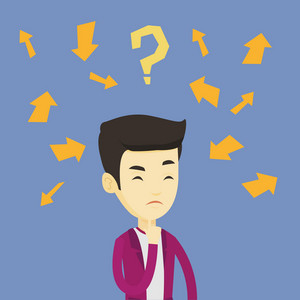 Asian business man standing under question mark and arrows. Young business man thinking. Thoughtful business man surrounded by question mark and arrows. Vector flat design illustration. Square layout.