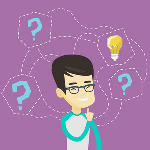 Asian business man thinking about new creative idea. Business man standing with question marks and idea light bulb above his head. Business idea concept. Vector flat design illustration. Square layout