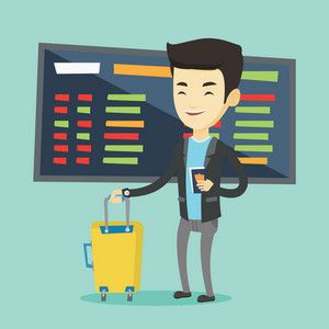 Asian business man waiting for a flight at the airport. Passenger holding passport and airplane ticket. Young man with suitcase standing at the airport. Vector flat design illustration. Square layout.