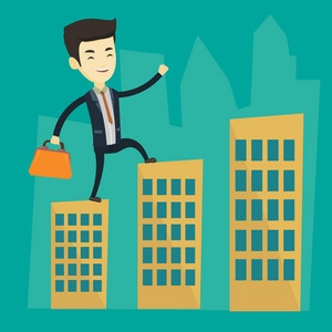 Asian business man walking on the roofs of city buildings. Young business man walking on the roofs of skyscrapers. Business man walking to the success. Vector flat design illustration. Square layout.
