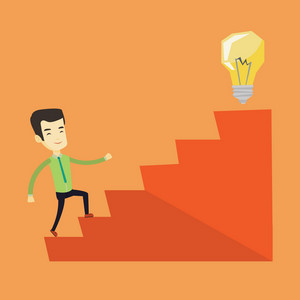 Asian business man walking upstairs to the idea light bulb. Business man running up the stairs to get idea light bulb on the top. Business idea concept. Vector flat design illustration. Square layout.