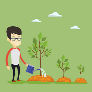 Asian business man watering trees of three sizes. Young smiling business man watering trees with watering can. Business growth and investment concept. Vector flat design illustration. Square layout.
