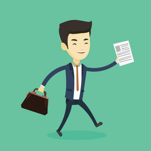 Asian business man with briefcase and a document running. Young happy business man running in a hurry. Cheerful business man running to success. Vector flat design illustration. Square layout.