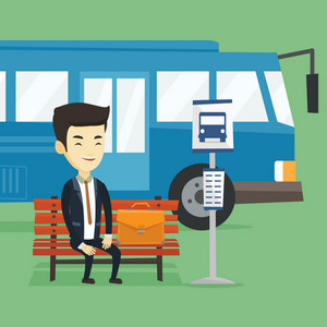 Asian business man with briefcase waiting at the bus stop. Young business man sitting at the bus stop. Cheerful businessman sitting on a bus stop bench. Vector flat design illustration. Square layout.