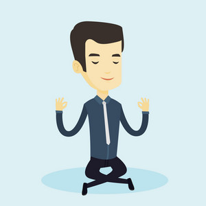 Asian business man with eyes closed meditating in yoga lotus position. Young business man relaxing in the yoga lotus position. Business man doing yoga. Vector flat design illustration. Square layout.