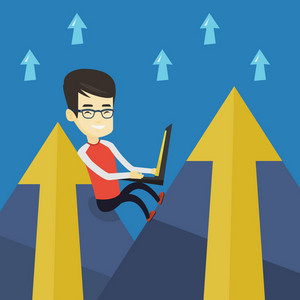 Asian business man working on a laptop on the mountain. Business man sitting on the top of the mountain and using a laptop. Business technology concept. Vector flat design illustration. Square layout.