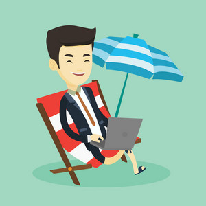 Asian business man working on the beach. Young business man sitting in chaise lounge under beach umbrella. Business man using laptop on the beach. Vector flat design illustration. Square layout.