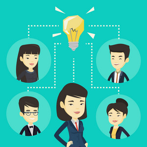 Asian business men working on new creative ideas. Business people discussing business ideas. Group of business women connected by one idea light bulb. Vector flat design illustration. Square layout.