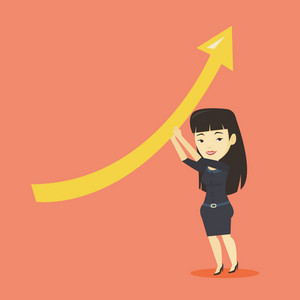 Asian business woman changing the path of graph to a positive increase. Business woman holding graph going up. Cheerful business woman with growth graph. Vector flat design illustration. Square layout