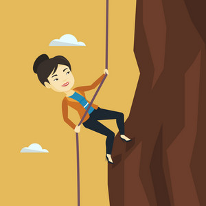Asian business woman climbing on the rock. Young brave business woman using rope to climb on the mountain. Concept of business challenge. Vector flat design illustration. Square layout.