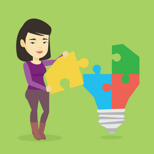 Asian business woman completing idea light bulb made of puzzle. Business woman inserts the missing puzzle in the idea light bulb. Business idea concept. Vector flat design illustration. Square layout.