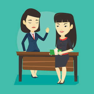 Asian business woman giving a bribe. Uncorrupted business woman refusing to take a bribe. Woman rejecting to take bribe. Bribery and corruption concept. Vector flat design illustration. Square layout.