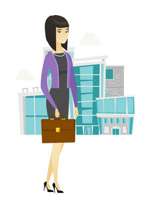 Asian business woman holding briefcase. Full length of young business woman with briefcase. Smiling business woman holding briefcase. Vector flat design illustration isolated on white background.