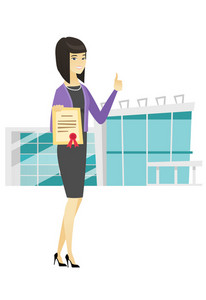 Asian business woman holding certificate. Full length of business woman with certificate. Business woman showing certificate and thumbs up. Vector flat design illustration isolated on white background