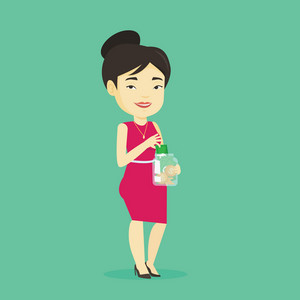 Asian business woman holding glass jar. Smiling business woman saving money banknotes in glass jar. Cheerful business woman putting money into glass jar. Vector flat design illustration. Square layout