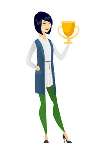Asian business woman holding golden trophy. Full length of young business woman with trophy. Happy business woman celebrating with trophy. Vector flat design illustration isolated on white background.