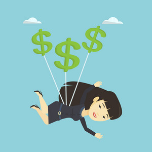Asian business woman in suit flying with dollar signs. Business woman gliding in the sky with dollars. Business woman using dollar signs as parachute. Vector flat design illustration. Square layout.