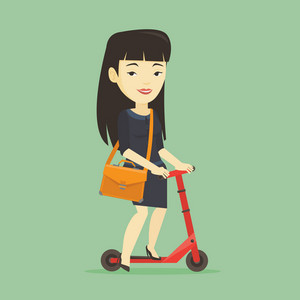 Asian business woman in suit riding a kick scooter. Business woman with briefcase riding to work on a kick scooter. Business woman on a kick scooter. Vector flat design illustration. Square layout.