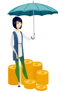 Asian business woman insurance agent. Insurance agent holding umbrella over gold coins. Business insurance and business protection concept. Vector flat design illustration isolated on white background