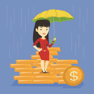 Asian business woman insurance agent with umbrella. Insurance agent holding umbrella over golden coins. Business insurance and protection concept. Vector flat design illustration. Square layout.