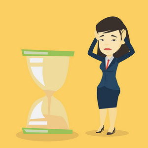 Asian business woman looking at hourglass symbolizing deadline. Business woman worrying about deadline terms. Time womanagement and deadline concept. Vector flat design illustration. Square layout.
