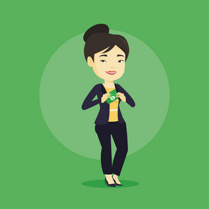 Asian business woman putting money bribe in her pocket. Young business woman hiding money bribe in jacket pocket. Bribery and corruption concept. Vector flat design illustration. Square layout.