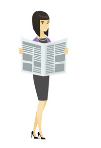 Asian business woman reading newspaper. Business woman standing with newspaper in hands. Business woman reading good news in newspaper. Vector flat design illustration isolated on white background