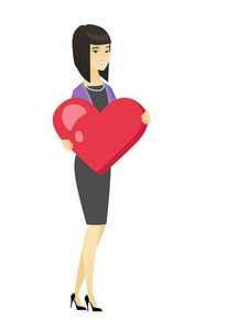 Asian business woman showing a big heart. Full length of young business woman with heart shape. Happy business woman holding a red heart. Vector flat design illustration isolated on white background.