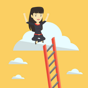 Asian business woman sitting on a cloud with ledder. Successful business woman relaxing on a cloud. Cheerful business woman with rised hands on a cloud. Vector flat design illustration. Square layout.