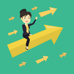 Asian business woman sitting on arrow going to success. Successful business woman flying up on big arrow. Concept of moving forward to business success. Vector flat design illustration. Square layout.