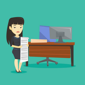 Asian business woman standing in office with long bill in hands. Disappointed business woman holding long bill. Sad business woman looking at long bill. Vector flat design illustration. Square layout.