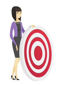 Asian business woman standing near a dart board. Full length of young business woman and a dart board. Business competition concept. Vector flat design illustration isolated on white background.