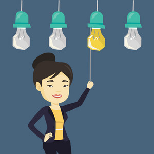 Asian business woman switching on hanging idea light bulb. Young cheerful business woman pulling a light switch. Business idea concept. Vector flat design illustration isolated on white background.