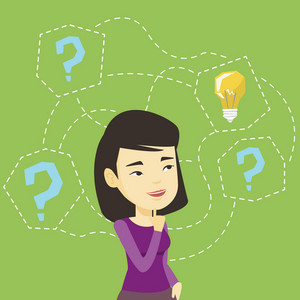 Asian business woman thinking about creative idea. Business woman standing with question marks and idea light bulb above her head. Business idea concept. Vector flat design illustration. Square layout