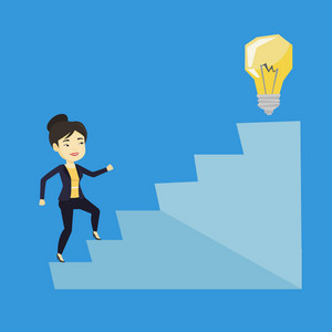 Asian business woman walking upstairs to the idea light bulb. Business woman running up the stairs to get idea bulb on the top. Business idea concept. Vector flat design illustration. Square layout.