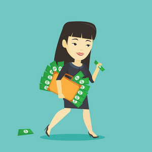 Asian business woman walking with briefcase full of money and committing economic crime. Young business woman stealing money. Economic crime concept. Vector flat design illustration. Square layout.
