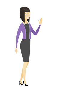 Asian business woman waving her hand. Full length of business woman waving hand. Business woman making greeting gesture - waving hand. Vector flat design illustration isolated on white background.