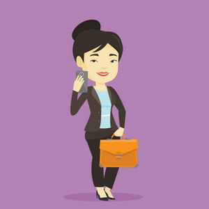 Asian business woman with briefcase making selfie. Business woman taking photo with cellphone. Business woman looking at smartphone and taking selfie. Vector flat design illustration. Square layout.