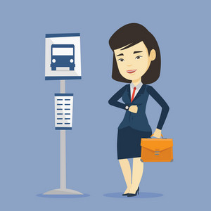 Asian business woman with briefcase waiting at the bus stop. Young business woman standing at the bus stop. Woman looking at her watch at the bus stop. Vector flat design illustration. Square layout.