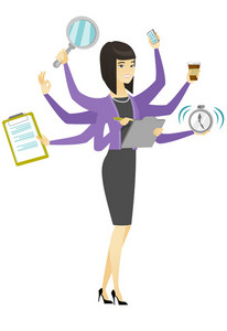 Asian business woman with many legs and hands coping with multitasking. Business woman doing multiple tasks. Multitasking business person. Vector flat design illustration isolated on white background.